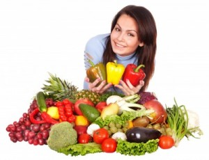 picture of woman with vegetables