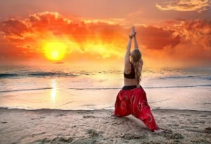 picture of Beautiful woman doing virabhadrasana I