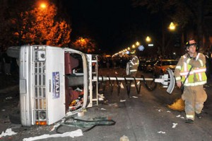 picture of penn state riot overturned tv truck