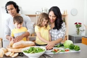 picture of family preparing healthy meal together