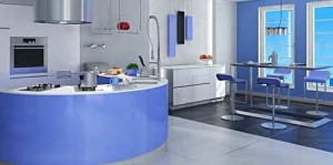 picture of blue kitchen