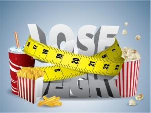 picture of Lose weight text with measure tape and junk food