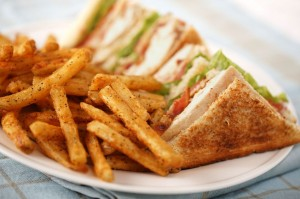 picture of chicken salad sandwich with fries