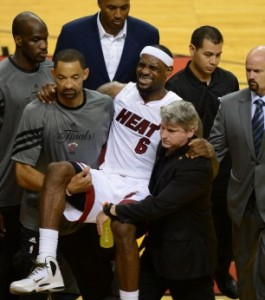 picture of Lebron James with cramps in NBA finals game 4 2012