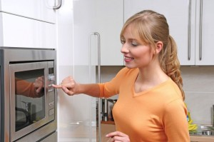 picture of woman with microwave