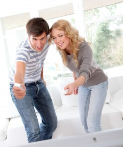 picture of couple playing video game