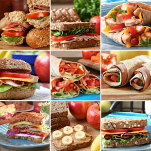 picture of Collage of nutritious and colorful mouthwatering sandwiches.