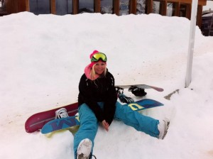 picture of Katharina resting between slopes