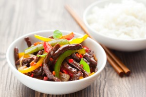 picture of beef stir-fry with vegetables and rice
