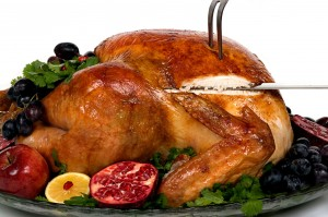 picture of Beautifully decorated golden roasted turkey
