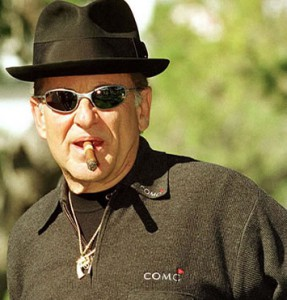 picture of joe pesci with cigar after siging with Snickers Bars