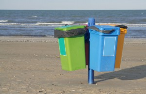 picture of Garbage cans on the beach in Cervia in Italy