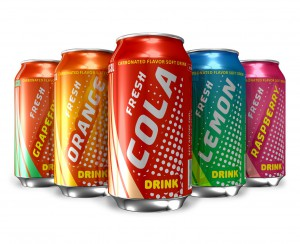 Set of soda drinks in metal cans