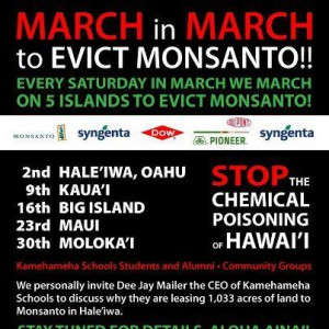 A poster for March protests against GMO foods in Hawaii.