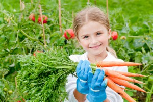 picture of little girl gardening